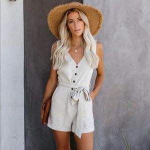 Garner Pocketed Button Down Tie Romper from VICI